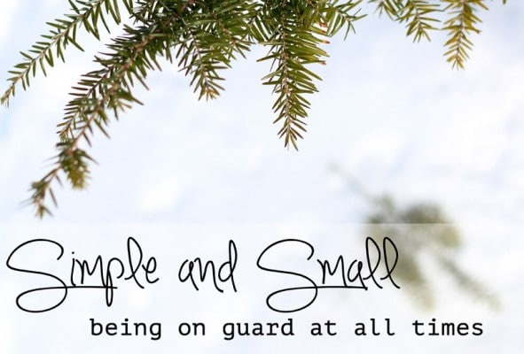Simple and Small - being on guard at all times
