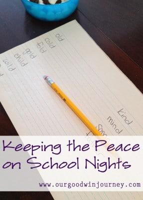 School Night Tips - Keeping Peace on School Nights