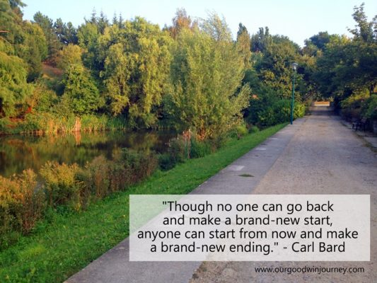 """Though no one can go back and make a brand-new start, anyone can start from now and make a brand-new ending."" - Carl Bard"
