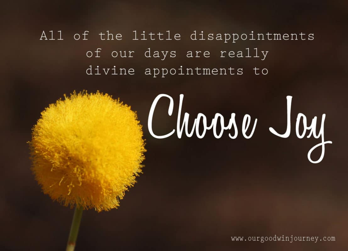 All of the little disappointments of our days are really divine appointments to choose joy.