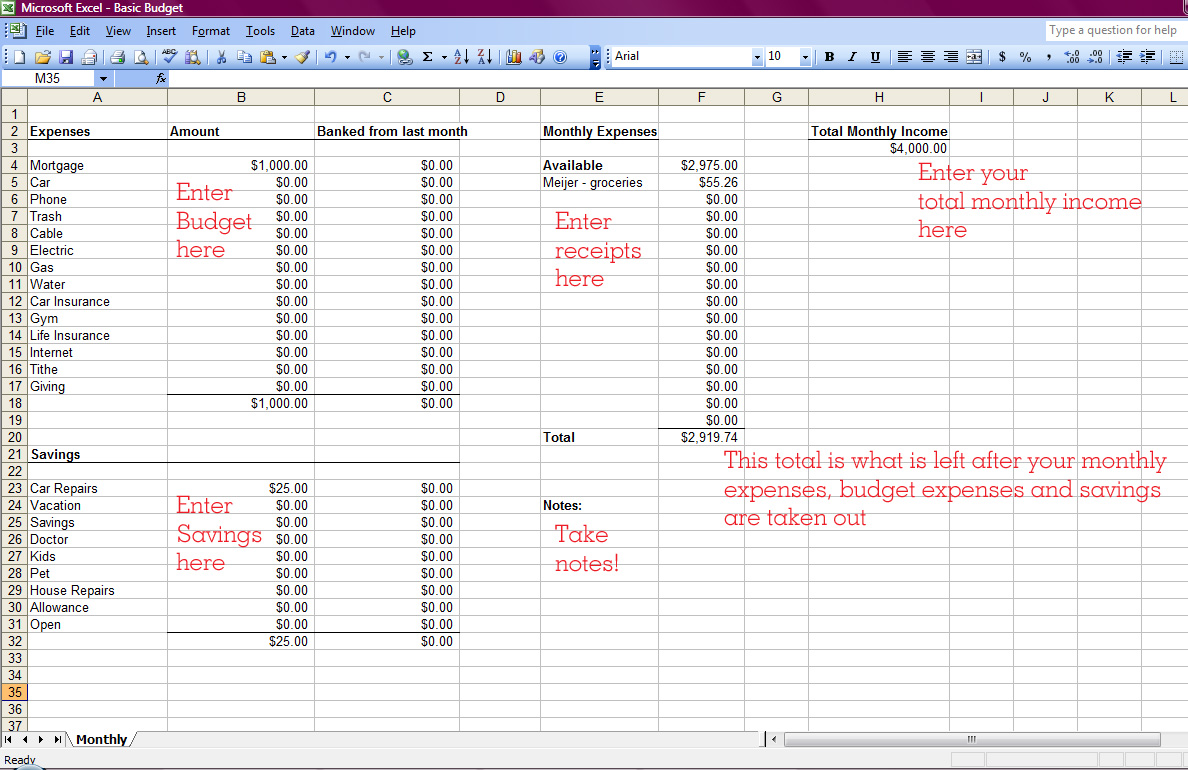how to make a simple budget spreadsheet